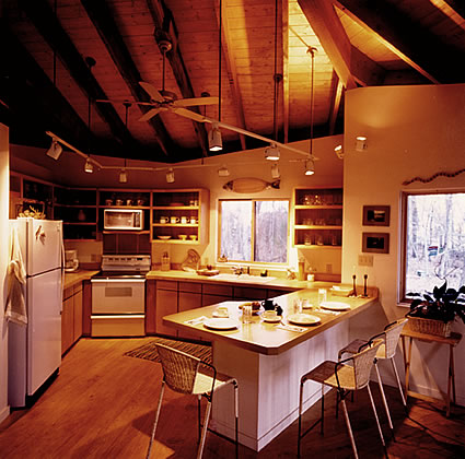 Open Kitchen Design By Matthew Ackerman, LEED AIA of Catalyst Architecture Shows Exposed Structure and Track Lighting