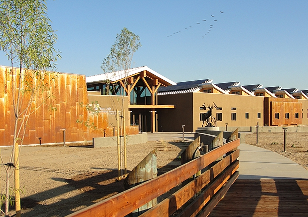 Net Zero Energy, LEED-Platinum Seeking, San Luis National Wildlife Refuge, NWR Visitor Center, designed by architect Matthew B. Ackerman, LEED-AP AIA of Catalyst Architecture, Los Banos, CA